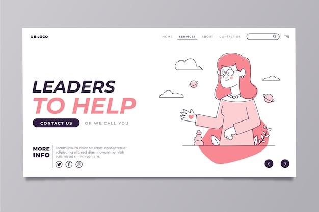 Plantilla de página de inicio moderna con linda mujer ilustrada vector gratuito