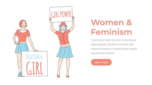 Plantilla de página de inicio de mujer y feminismo. poder femenino, lucha como una niña. Vector Premium