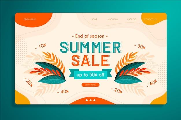 Plantilla de página de inicio de ventas de fin de verano vector gratuito