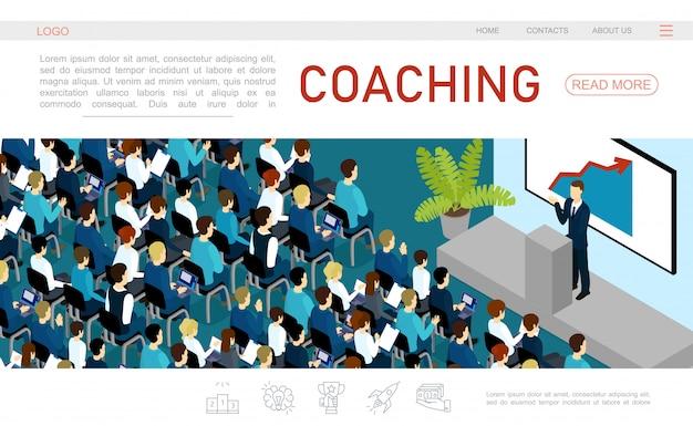 Plantilla de página web de conferencia de negocios isométrica con hombre de negocios hablando a la audiencia desde la tribuna vector gratuito