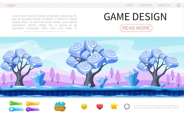Plantilla de página web de diseño de juegos de dibujos animados con fantasía mágica bosque paisaje cristales minerales círculo corazón estrella botones vector gratuito