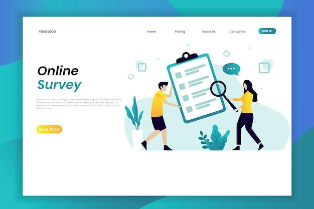 Plantilla de página web de ilustración de encuesta en línea con carácter Vector Premium