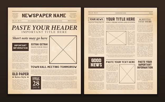 Plantilla de páginas de periódico vintage vector gratuito