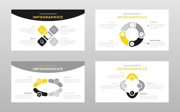 Plantilla de páginas de presentación de power point de color amarillo gris y negro concepto de infografía empresarial vector gratuito