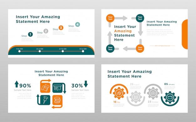 Plantilla de páginas de presentación de power point de color verde naranja concepto empresarial vector gratuito