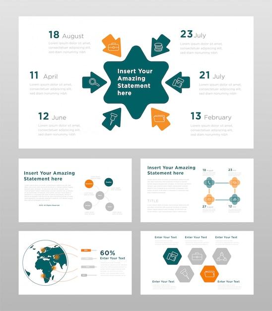 Plantilla de páginas de presentación de power point de color verde naranja y gris concepto empresarial vector gratuito