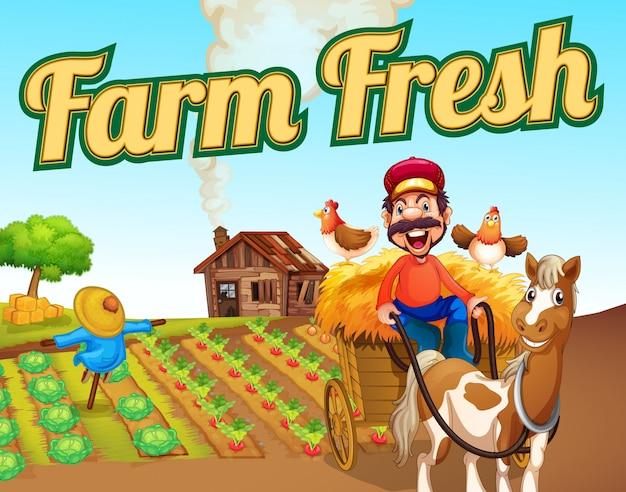 Plantilla de paisaje fresco de granja vector gratuito