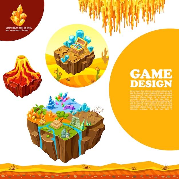Plantilla de paisajes de juego isométrico con palmeras de volcán piedras de árbol seco minerales cristales estalactitas de cofre del tesoro del desierto vector gratuito