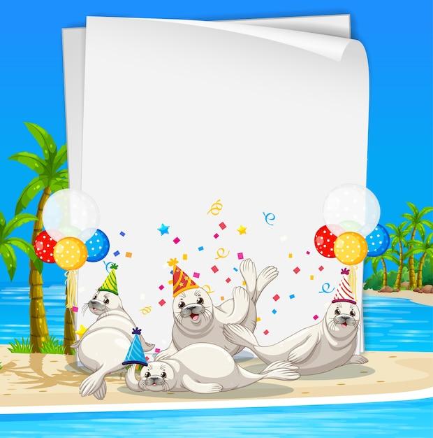 Plantilla de papel con animales lindos en tema de fiesta. Vector Premium