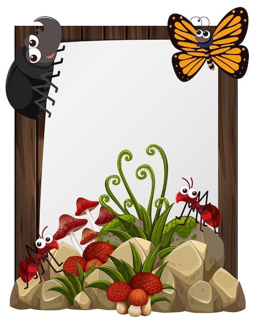 Plantilla de papel con insectos en el jardín | Descargar Vectores ...