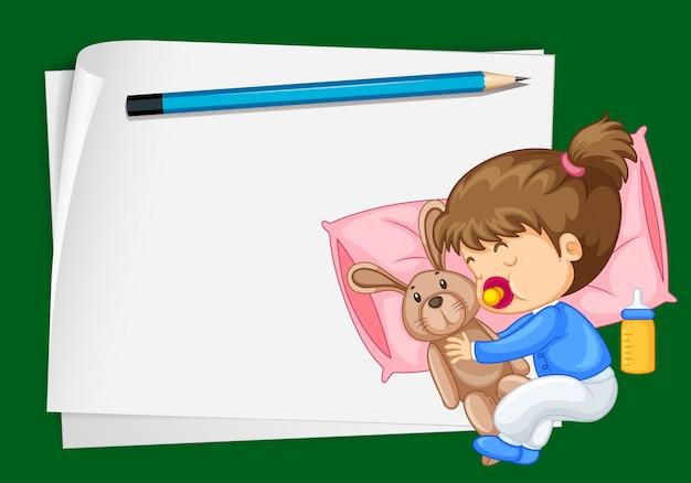 Plantilla de papel con niña durmiendo vector gratuito