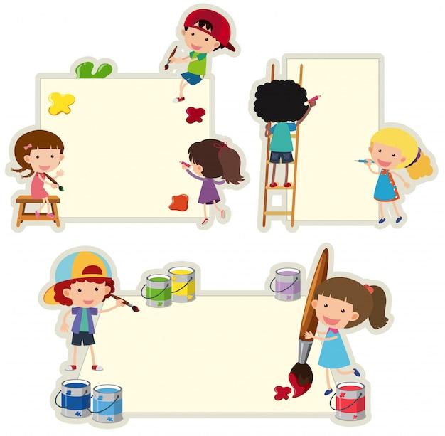 Plantilla de papel con niños pintando en papel   Descargar Vectores ...
