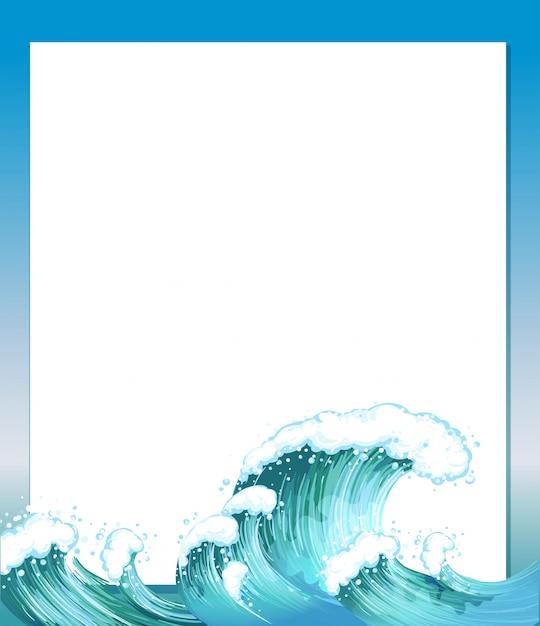 Una plantilla de papel vacía con olas en la parte inferior vector gratuito