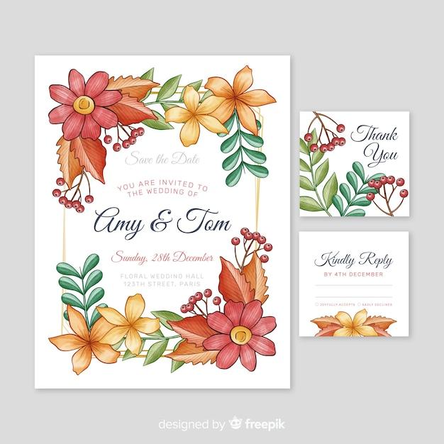 Plantilla de papelería de boda acuarela vector gratuito