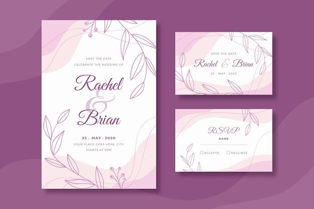 Plantilla de papelería de boda con flores. vector gratuito
