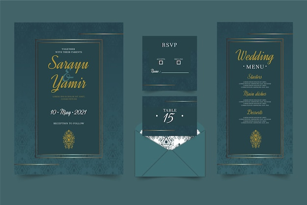 Plantilla de papelería de boda india Vector Premium