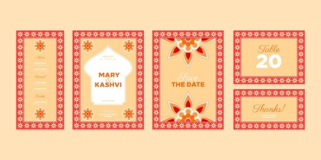 Plantilla de papelería de boda india vector gratuito