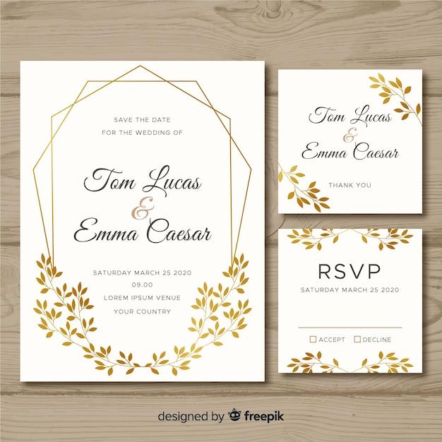 Plantilla de papelería de boda plana sobre fondo blanco. vector gratuito