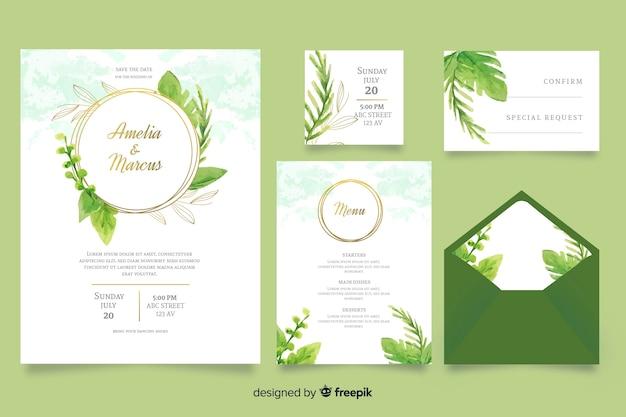 Plantilla de papelería de boda verde acuarela vector gratuito