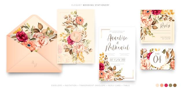 Plantilla de papelería de boda vintage vector gratuito