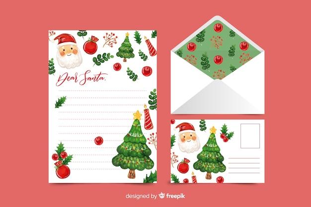 Plantilla de papelería de navidad acuarela con santa vector gratuito