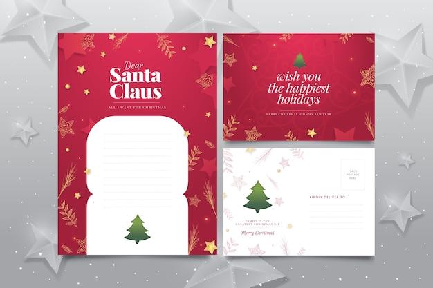 Plantilla de papelería de navidad dibujada a mano vector gratuito
