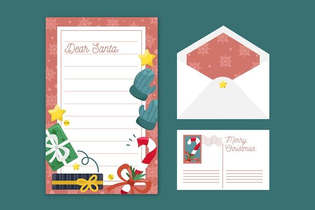 Plantilla de papelería de navidad de diseño plano vector gratuito