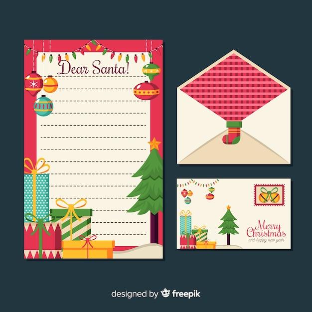 Plantilla de papelería de navidad plana vector gratuito