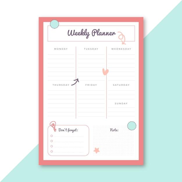Plantilla de papelería de planificador semanal vector gratuito