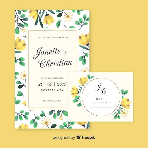 Plantilla de papeles y tarjetas de boda de estampado floral en acuarela vector gratuito