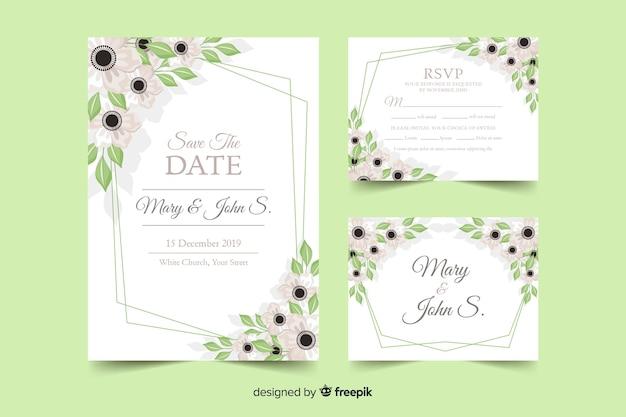 Plantilla de papeles y tarjetas de boda de estampado floral vector gratuito