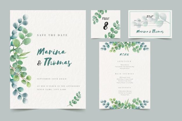 Plantilla de paquete de invitación de boda vector gratuito
