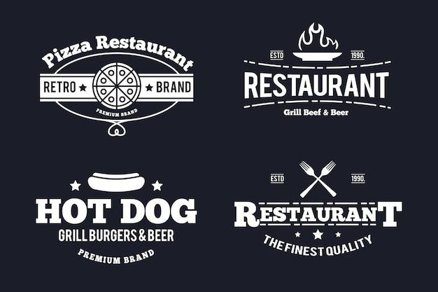 Plantilla de paquete de logotipo vintage de restaurante vector gratuito