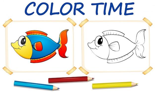 Plantilla para colorear con peces lindos | Descargar Vectores gratis
