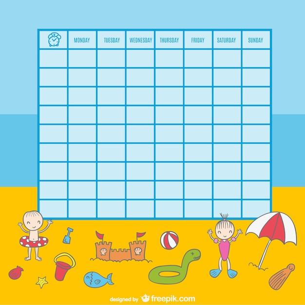 Plantilla para horario con fondo de playa | Descargar Vectores gratis