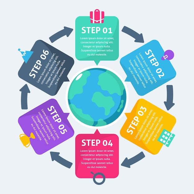 Plantilla de pasos de infografía empresarial vector gratuito