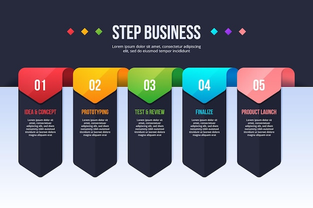 Plantilla de pasos de infografía empresarial Vector Premium