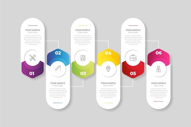 Plantilla de pasos de infografía gradiente vector gratuito