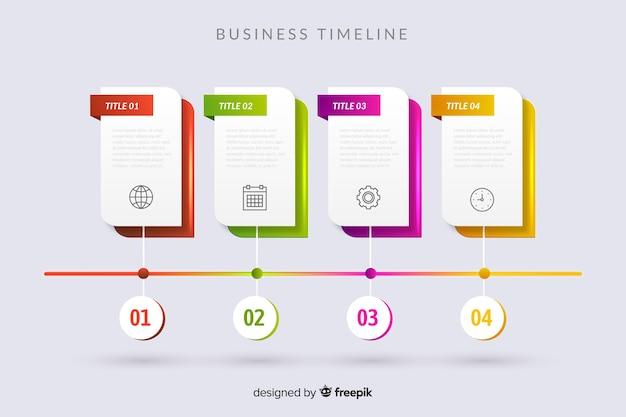 Plantilla de pasos de infografía de línea de tiempo vector gratuito