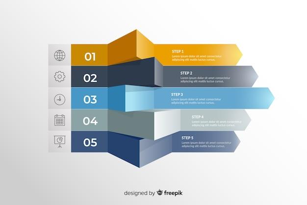 Plantilla de pasos de marketing de infografía gradiente vector gratuito