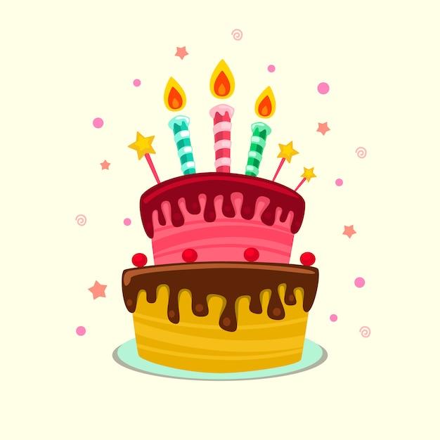 432dd89a2 Plantilla de pastel de cumpleaños colorido aislado plano dibujos animados  Vector Premium