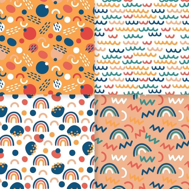 Plantilla de patrón dibujado a mano abstracto arco iris diminuto Vector Premium