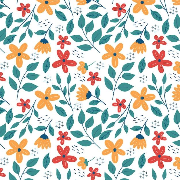 Plantilla de patrón floral de hojas y flores diminutas vector gratuito