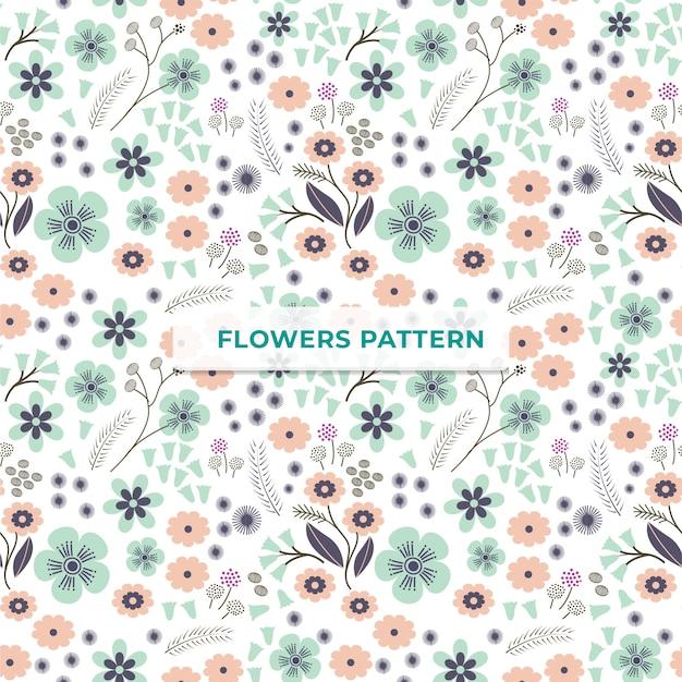Plantilla de patrón de flores Vector Premium