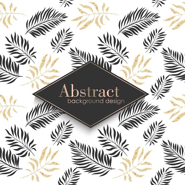 Plantilla de patrón oro de lujo con hojas tropicales. vector gratuito
