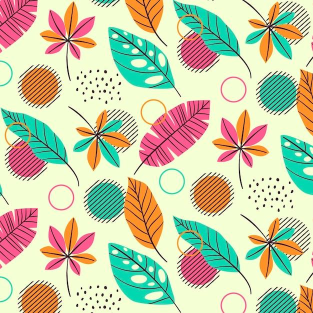 Plantilla de patrón de verano con hojas tropicales vector gratuito