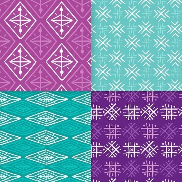Plantilla de patrones sin fisuras songket violeta y azul vector gratuito