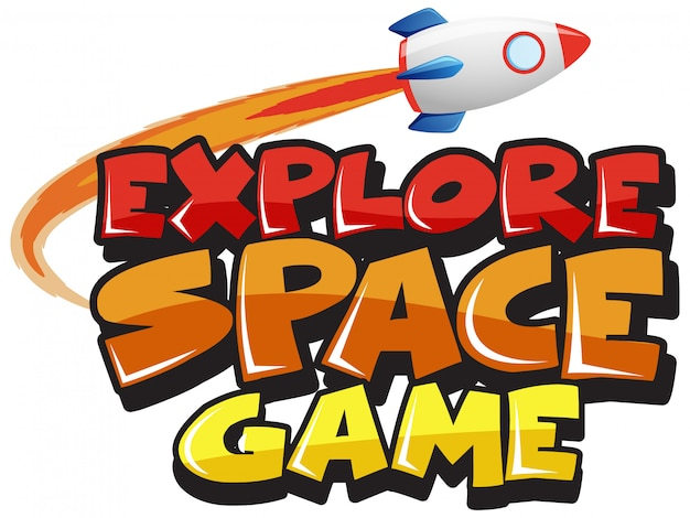 Plantilla de pegatina para word explore space game Vector Premium
