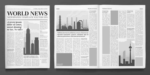 Plantilla de periódico de negocios, titular de noticias financieras, páginas de periódicos y diseño aislado del diario de finanzas Vector Premium