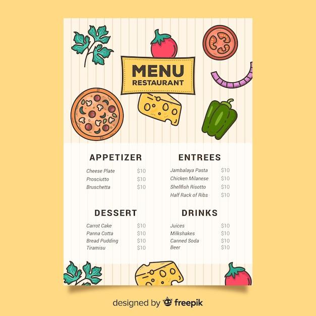 Plantilla de pizza y verduras para alimentos vector gratuito